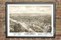 Old Map of Salem, OR from 1876 - Vintage Oregon Art, Historic Decor