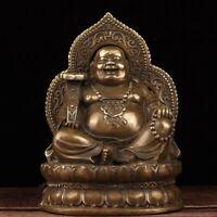 Chinese copper bronze Carved Happy Laugh Maitreya Buddha lotus Seat big Statue