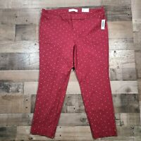 NEW Old Navy Red Womens Size 18 Regular Polka Dot High Rise Pixie Ankle Pants