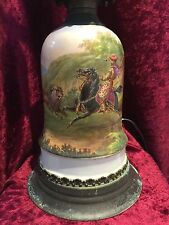 Antique Hand Painted Porcelain Oil Lamp Converted Lion Horse & Arabian Hunter