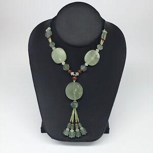"Green Serpentine Multi-Strand Bead Necklace,@Afghanistan 22""NPH55"