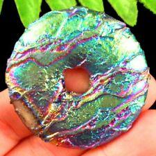 Rainbow Titanium Crystal Agate Druzy Quartz Geode Donut Pendant Bead SD2019522