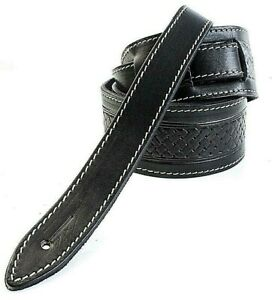 EMBOSSED TEXAN BLACK GENUINE LEATHER ACOUSTIC ELECTRIC BASS GUITAR STRAP UK MADE