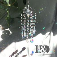 Hanging Crystal Suncatcher Pendant 38mm Rainbow Finish Charm Bead Prism Decor