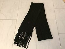 NWT POLO RALPH LAUREN LADIES BLACK CABLE KNIT SCARF MUFFLER PONY WOOL & CASHMERE