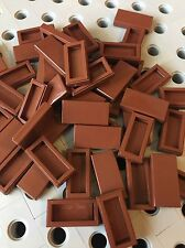 Lego Brown 1x2 Flat Tiles Smooth Finishing Tile Buildings Roof Floor 50pcs