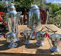 Vintage Art Deco CHROME raspberry lucite tea and martini prep set
