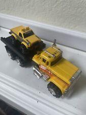 80's SCHAPER STOMPER ROAD KINGS SEMI  TRUCK Flatbed W/Mini Stomper- Works!!