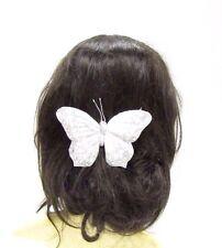 Large Silver White Butterfly Hair Clip Bridesmaid Christening Glitter Vtg 2849
