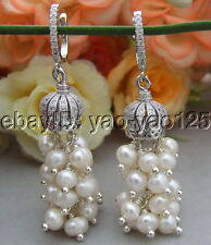 White Pearl Earrings  Cz pave Laver back
