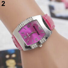Ladies Fashion Silver Rose Red Dial & Rhinestone Rose Red Band Wrist Watch.