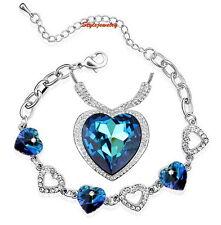 Blue Ocean Heart Necklace Bracelet Set Made With Swarovski Crystal N297T25