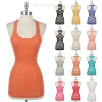 Solid Rib Front Tank Top with Full Lace Racerback Panel Scoop Neck Sleeveless