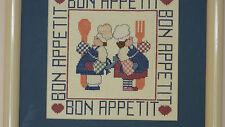 Framed Cross Stitch BON APPETIT Chef from a design by T. C. Chiu - 13x13 JCA New
