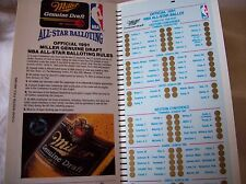 1991 Miller Genuine Draft NBA All-Star Game Official Ballot - Unmarked