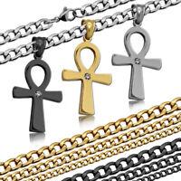 Damen Edelstahl Halskette + Kettenanhänger Anch Ankh Kreuz Anhänger Königskette
