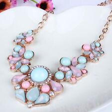 Jewelry Chunky Women Crystal Choker Flower Pendant Bib Statement Chain Necklace