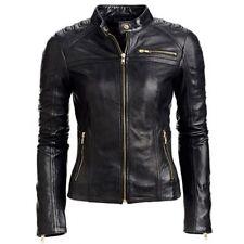 Black Women's Slim Fit Biker Style Real Leather Jacket