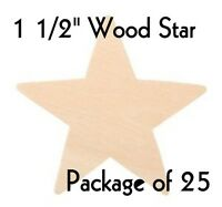 "STAR ~ 1 1/2"" ~ SOLID Wood Cutout Craft Shape ~ Unfinished { Lot of 25} ~ by PLD"