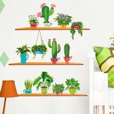 Cactus Pot Flower Plants  Window Decal Wall Sticker Mural Room Home Decor DIY