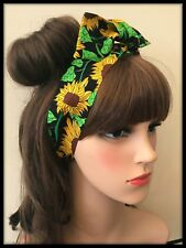 Vintage Floral Fabric Sunflowers Headband Bandana Hairband Hair Tie Band Scarf