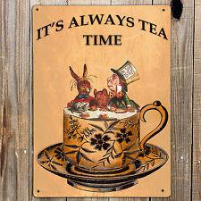 MAD HATTERS TEA PARTY,ALICE IN WONDERLAND Tenniel Metal Door Wall Sign Plaque