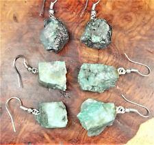 Emerald Earrings - Raw Gemstone Earring Set Green Silver Hooks (LR44)