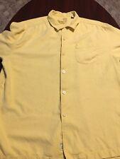 TOMMY BAHAMA Original Fit 100% Silk Mens Yellow Short Sleeve Button Down Shirt L
