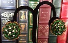 Vintage Miriam Haskell Clip-On Earrings Green Bead Rhinestone Estate NR FS