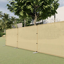 Beige 4ft Outdoor Mesh Fence with Pole Movable Freestanding Patio Pool Fencing