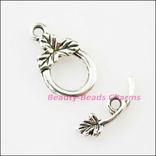12Sets Tibetan Silver Leaf Smooth Round Circle Bracelet Toggle Clasps Connectors