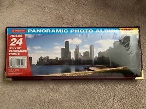 "New Panoramic Photo Album, Holds (24) 3.5x10"" Photos, Burgandy, Walgreens"