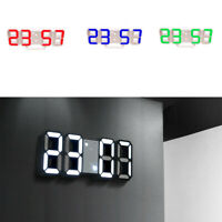 Modern Digital 3D LED Wall Clock Alarm Clock Snooze 12/24H Display Decor USB CHZ