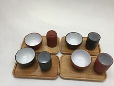 4 Set Chinese Tea Tasting Cups With Aroma Cups And Bamboo Coaster.
