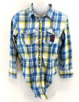 SUPERDRY Womens Shirt XS Blue White Green Check Cotton