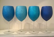 Set Of 4 Glitter Wine Glasses Ready To Post Mixed Blues