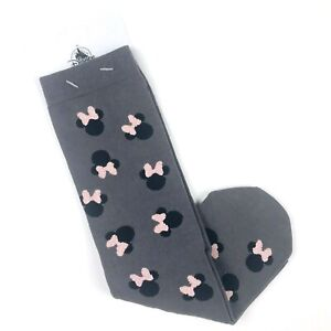 Disney Parks Women Grey Crew Cotton Minnie Mouse Rose Gold Bow Socks O/S 5-10 SJ