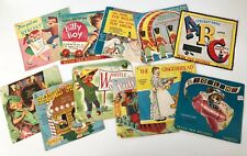 Lot of 11 - Vintage 1950s Children's Vinyl Records 45rpm Retro Kids Graphics