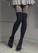 Patrizia Gucci for Marilyn Grey Houndstooth Lace Band Thigh High Tights M/L