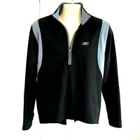Reebok Play Dry LS Pullover 1/4 Zip Black Athletic Shirt Large Stretch Logo