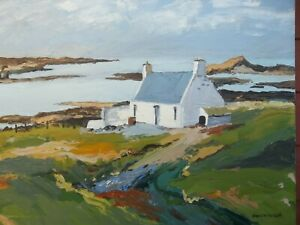 welsh art oil painting costal cottage