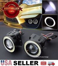 """1 Pair 3"""" White DRL COB LED Halo Ring Driving Projector Fog Light For VW Porsche"""