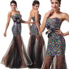 Mermaid SEQUINS Long Prom Wedding Dess Ball Gown Formal Evening Masquerade Dress