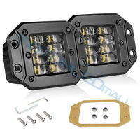 Flush Mount LED Pod 2x4in 160W Cube Work Light Bar Offroad Fog Driving Truck ATV