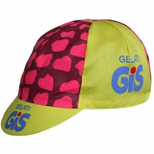 GIS GELATI RETRO CYCLING TEAM CAP - Vintage - Made in Italy (Yellow/Pink)