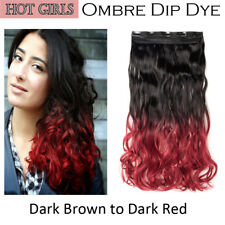 2 Tone Gradient One PC Clip in Hair Extensions - Brown To Red Ombre Dip Dye AXO