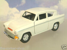 """GREAT SAICO 1/32 DIECAST FORD ANGLIA 105E IN WHITE WITH PULL BACK MOTOR 5"""" LONG"""