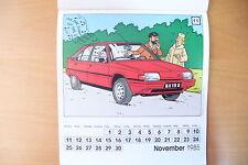 RARE PAGE CALENDRIER CITROËN/TINTIN LES 60 ANS - 24 x 22 cm - 1984 !! A VOIR