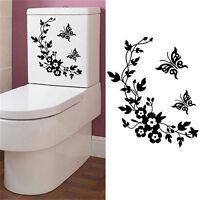 Papillon fleur salle de bains toilettes Stickers muraux autocollant Home Dec-3