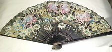 Vintage Hand Painted Japanese Fan - Black Laquer Wood and Silk